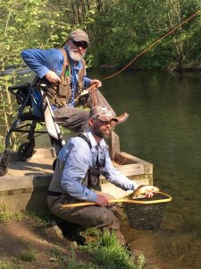 SFC (ret) Rick Warrington, U.S. Army and Guide Gavin Robinson with a beautiful Rose River Brook Trout