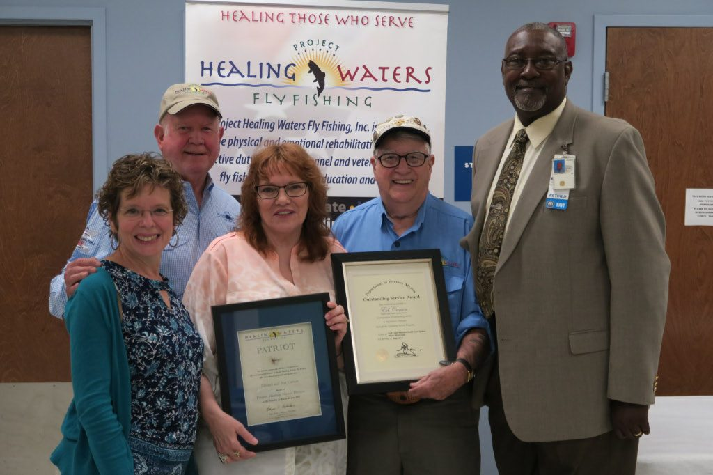 Founder and President Emeritus Ed Nicholson presents The Patriot Award to Ed and Ava Carson at the Biloxi VAMC. The VA also awarded Ed with an Outstanding Service Award during the presentation in May 2017.