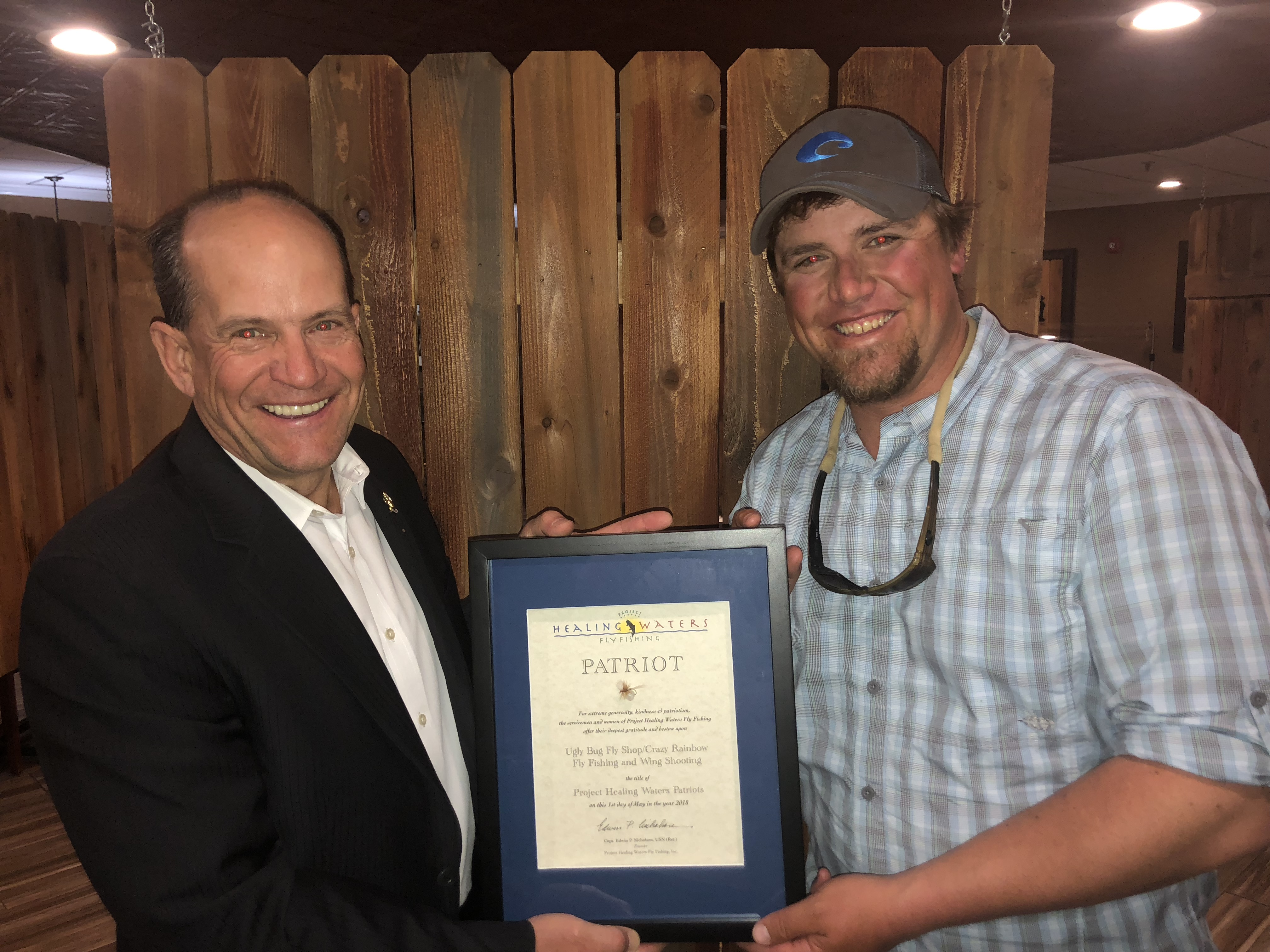 Patriot Award Presented to the Ugly Bug Fly Shop/Crazy Rainbow Fly Fishing and Wing Shooting