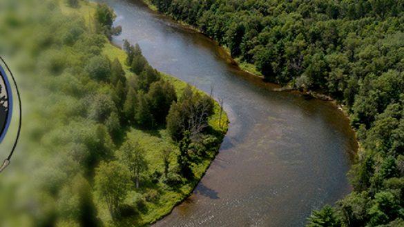 Au Sable River Michigan drone panorama