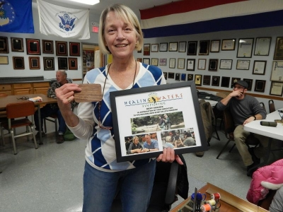 Volunteer Becky Hancock honored at monthly PHWFF fly tying session