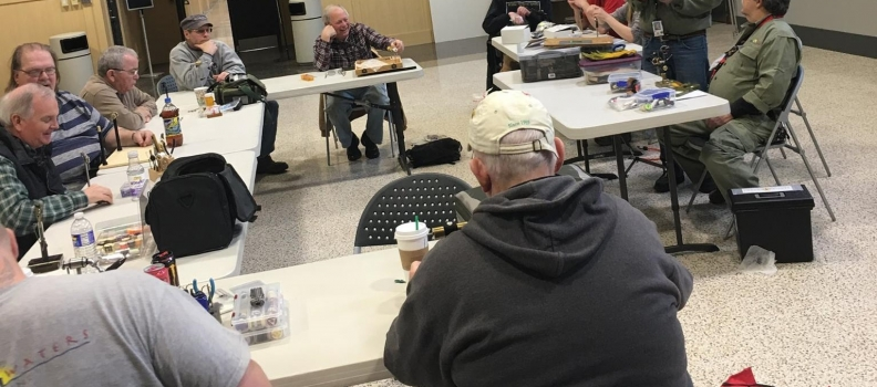 SUNY ESF Trout Bums join the veterans of PHWFF Syracuse for fly tying class